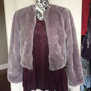 Mossimo lavender fur jacket size Xs New with tags